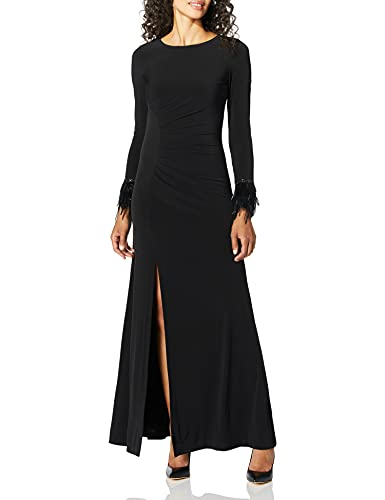 v28a long sleeve dresses Calvin Klein Women's Long Sleeve Gown with Feather Trim