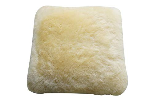 MILABERT Genuine Medical Sheepskin Seat Pad | Cushion - Pale Yellow colour - Super soft wool - Quilted base - All chair