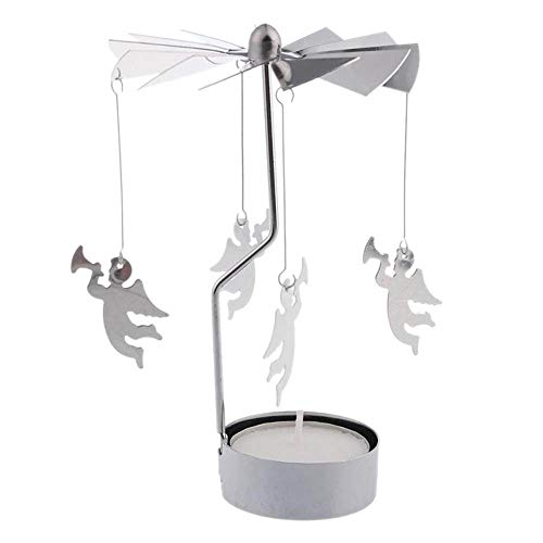 Ouneed- Kerst Kaarsenhouder, Rotary Spinning Tealight Kaars Metalen Theelicht Houder carrousel Home Decor Gift Bruiloft Kerstmis Tafel Centrepiece Decoratie