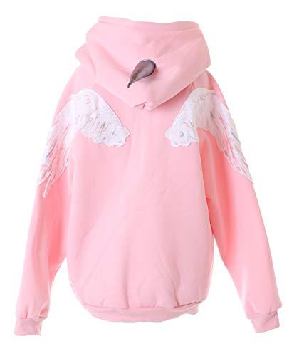 Sudadera con capucha TS-210 rosa Unicorn Ángel Engel en la espalda Pastel Goth Sudadera Harajuku Kawaii