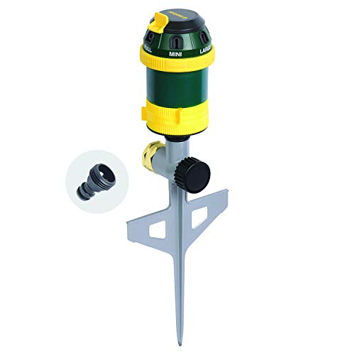 Melnor 65065-AMZ 6 Pattern Turbo Rotary Sprinkler with QuickConnect Product Adapter Set, Green, Yellow, Black