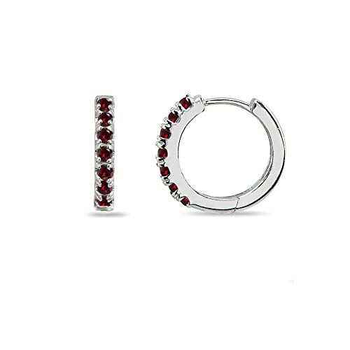Sterling Silver Tiny Small 15mm Prong-set Synthetic Ruby Round Huggie Hoop Earrings for Men, Women, Teen Girls