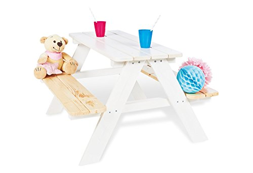 Pinolino 201611 Kindersitzgarnitur 'Nicki für 4', weiß, 90 x 79 x 50