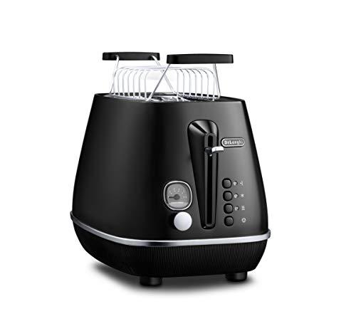 De'Longhi Toaster Distinta Moments CTIN2103.BK - 2-Schlitz-Toaster mit Brötchenaufsatz, edelstahl in Matt-Metallic Finish mit Chrom-Details, passend zu Nespresso Gran Lattissima (EN650.BK), schwarz