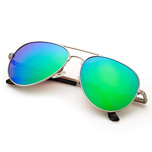 SODQW Pilotenbrille Sonnenbrille Damen Verspiegelt Polarisiert Mode Flieger Brille für Autofahren Angeln Metallrahmen 100% UVA/UVB Schutz (Silberner Rahmen Grün Linse)