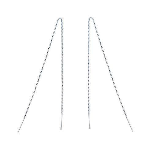 Orecchini pendenti in argento 925, design a catenella e placcato Argento, colore: 20 mm., cod. AUG-1