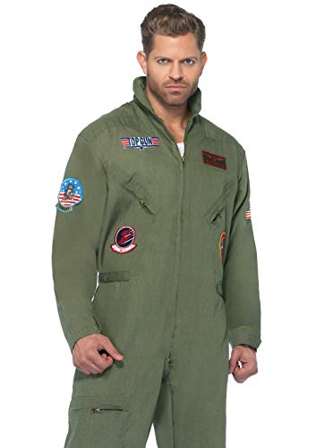 Leg Avenue Men's Top Gun Flight Suit Costume, Khaki/Green, Medium/Large