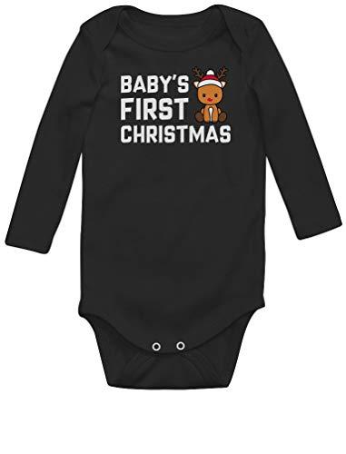 Body de Manga Larga para bebé - Navidad Ropa Bebe Recien Nacido Monos Bodies con Reno para 0-12 Meses Niña Niño Mi Primera Navidad -