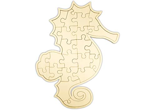 """Kopierladen Holzpuzzle """"Seepferdchen"""" zum bemalen und verzieren, leeres Puzzle aus Schichtholz, 24 Teile, ca. 28,5 x 22 cm"""