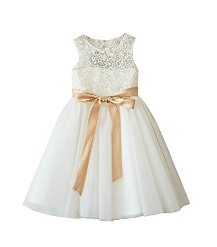 Miama Ivory Lace Tulle Wedding Flower Girl Dress Junior Bridesmaid Dress,Ivory,6