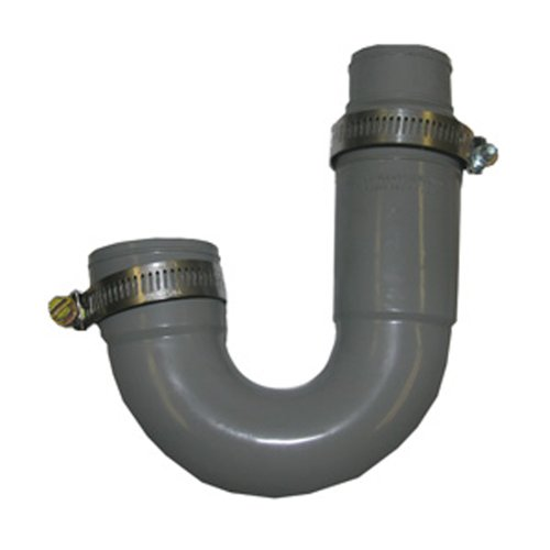 LASCO 25-6860 Flexible Rubber P-Trap with Worm Drive Clamps for OD Tubes, 1 1/2' x 1 1/2'/1 1/4'