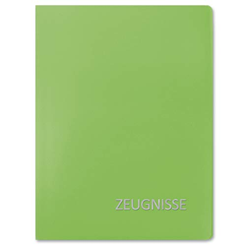 ROTH Zeugnismappe Basic - Grün - mit 20 A4 Klarsichthüllen, Dokumentenecht - Dokumentenmappe