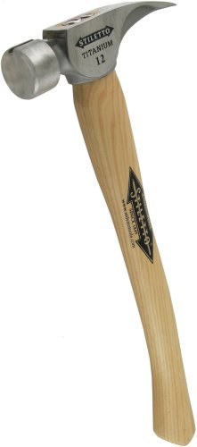Stiletto Ti12SC-16 Ti 12-Ounce Smooth Face Hammer with a Curved 16-Inch Hickory Handle