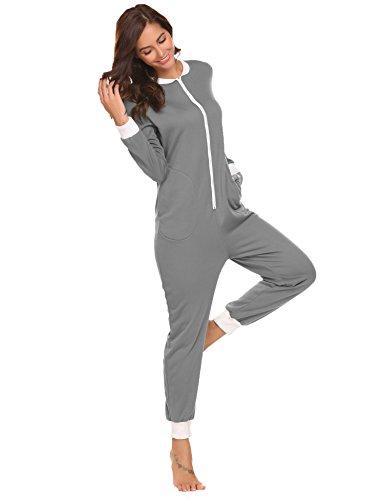 Schlafoverall Jumpsuit Damen Overall Pyjama Onesie Einteiler Lang Strampler Kuschelig Schlafanzug Nachtwäsche Langarmshirt Playsuit mit Reißverschluss, M, Grau M Grau