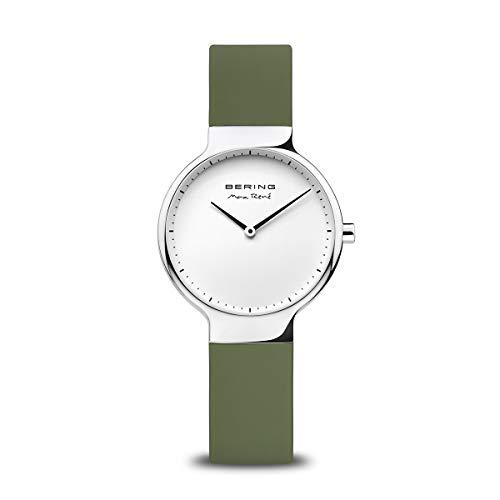 BERING Damen Analog Quarz Max René Collection Armbanduhr mit Silikon Armband und Saphirglas 15531-800