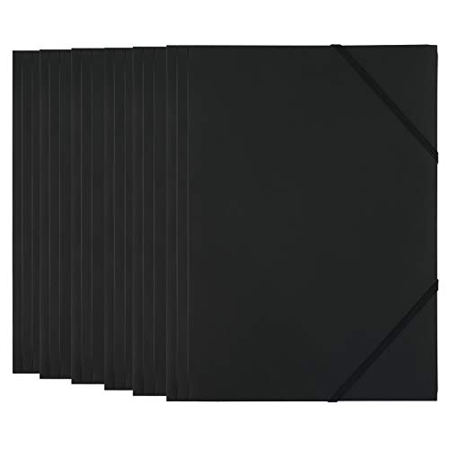 D.RECT 6 Stück Sammelmappe | Postmappe aus Kunststoff/PP mit Gummiband | Gummizugmappe aus plastik für DIN A4 Schwarz