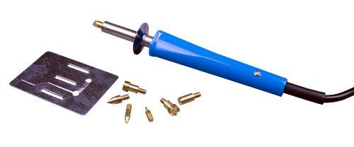 X4-TOOLS Brandmalkolben Lötkolben 24er Set - für Holz Leder Kork - 30W 230V blau