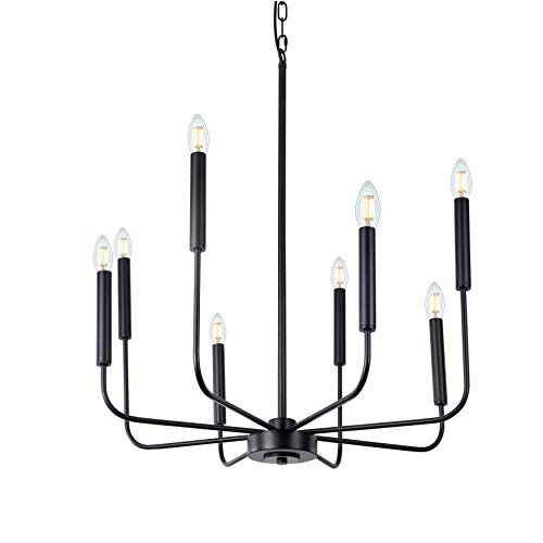 Wellmet Matte Black Farmhouse Chandeliers, 8-Light Classic Candle Ceiling Hanging Light Fixture Rustic Pendant Lighting for Kitchen Island, Dining Room, Living Room, 66cm Dia