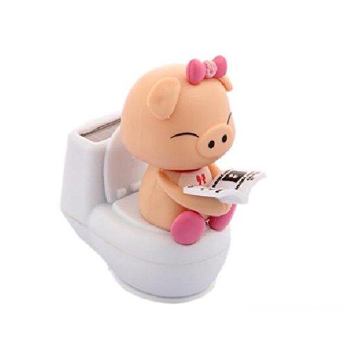 17YEARS Miniature Charmante Solaire Motif Cochon sur le Pot de Toilet Décoration de Voiture Bureau, Plastique, rose, Taille unique