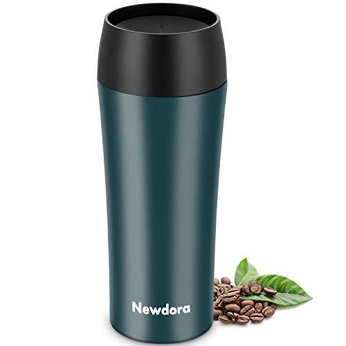 Newdora Termo Cafe, Botella de Agua Acero Inoxidable, Tazas Cafe Personalizadas 380ML Travel Mug, Reutilizable Botella Termica para al Aire Libre, Camping, Gimnasio en Casa,Facil de Limpiar,sin BPA