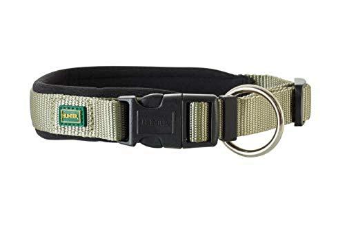 HUNTER NEOPREN VARIO PLUS Halsung, Hundehalsband, Nylon, mit Neopren gepolstert, 40/2,0 (S-M), oliv/schwarz