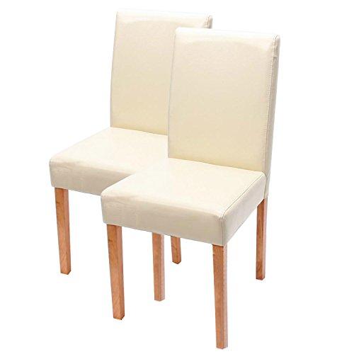 Mendler 2X Esszimmerstuhl Stuhl Küchenstuhl Littau ~ Leder, Creme, helle Beine