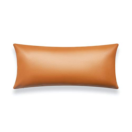 """Hofdeco Modern Decorative Long Lumbar Pillow Cover ONLY for Bed, Backyard, Couch, Sofa, Camel Vegan Faux Leather, 12""""x26"""""""