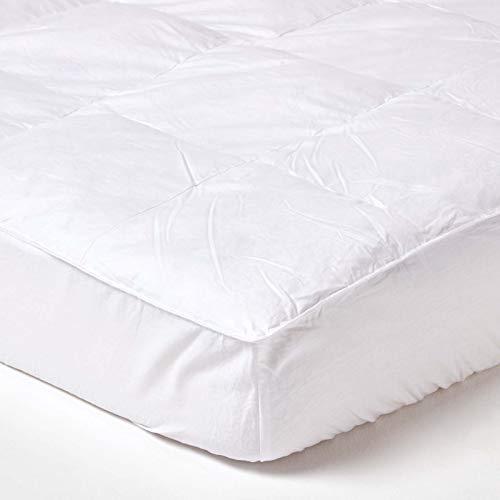 Homescapes Matratzenauflage 180 x 200 cm mit 100% Entenfeder- und Daunenfüllung, natürlicher Matratzen-Topper mit Bezug aus 100% Baumwolle, waschbarer Matratzenschoner