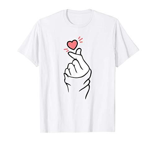 Signo de mano de corazón coreano Dedos K-Pop Corazón Camiseta