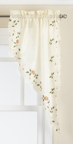 LORRAINE HOME FASHIONS Rosemary Tailored Swag Pair, 58 by 38-Inch, Linen