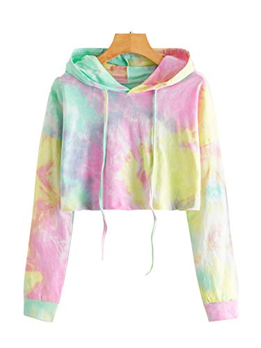 SweatyRocks Women's Tie Dye Long Sleeve Workout Crop Top Sweatshirt Hoodies Yellow Pink M