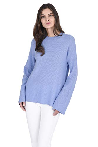 State Fusio Thermal Stitch Crew Neck Sweater Cashmere Wool Long Sleeve Pullover for Women (Angel Blue, Large)