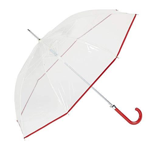 GOTTA Paraguas Transparente Largo de Mujer. Antiviento y automático. Puño Curvo de plástico. - Rojo
