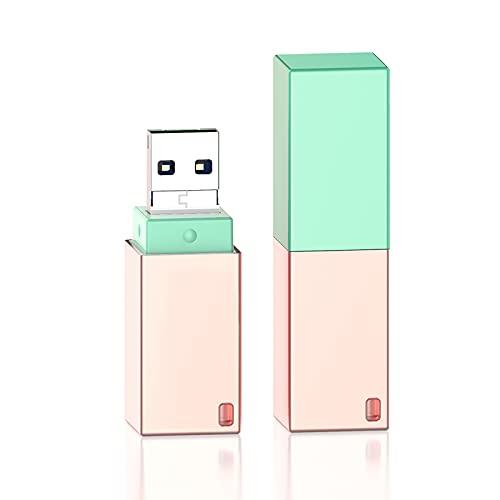 Memoria USB de 256 GB compatible con iPhone QARFEE Flash Drive con conector de extensión de almacenamiento USB Memoria Fotostick sin APP para iOS 13+/OTG Andriod/Ordenador/Tableta/PC (256GB, verde)