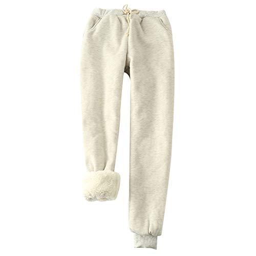 Fnsky - Pantalones de chándal para mujer, cálidos e informales, de cachemira de imitación, pantalones de chándal con forro polar grueso para mujer, gris claro, large
