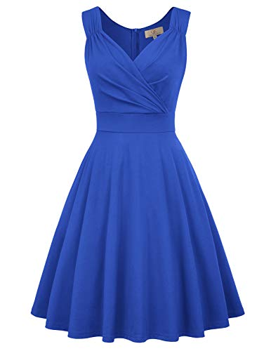 GRACE KARIN Women's Retro V-Neck Pinup Evening Party Dress Size L Blue CL698-6