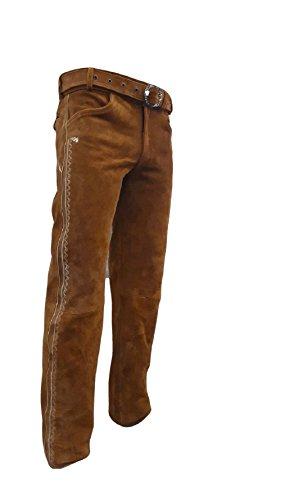 Shamzee Trachten Lederhose lang inklusive Gürtel aus Echtleder in Olive Farbe größe 46-62 (60, Olive)