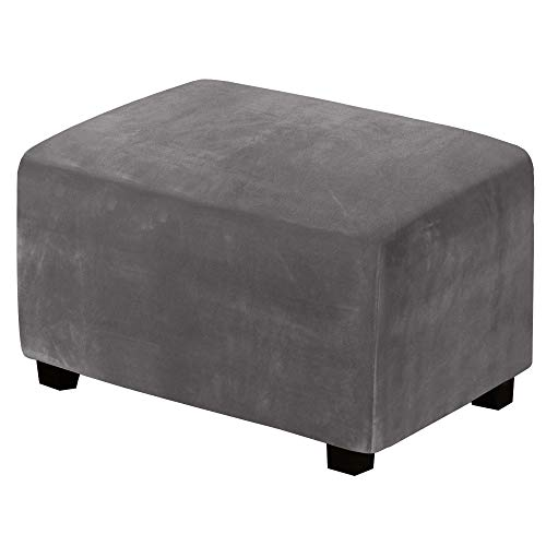 Real Velvet Plush 1 Piece Form Fit Stretch Rectangle Folding Storage Covers Ottoman Slipcovers Removable Footstool Protect Footrest Covers Elastic Bottom, Machine Washable(X-Large, Grey)