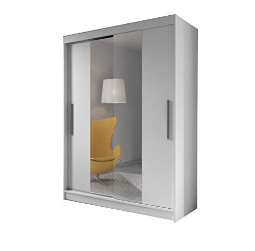 mb-moebel Moderner und funktionaler SchiebetürenSchrank Kleiderschrank Schrank Garderobe Zweitürenschrank Spiegeltür 150 cm Lara 01 (Weiß)