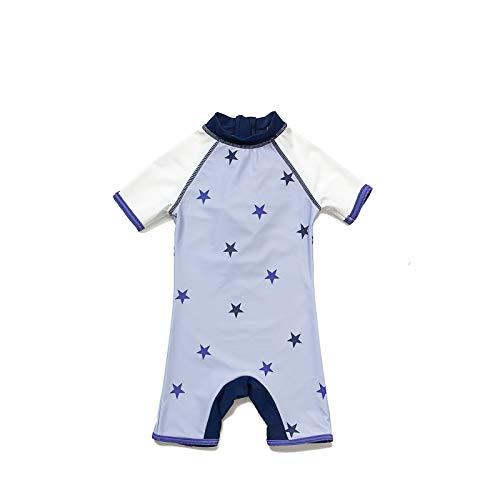 BONVERANO Baby Junge EIN stück Kurzärmel-Kleidung UV-Schutz 50+ Badeanzug MIT Einem Reißverschluss(Lila-Die sterneD,24-36M)