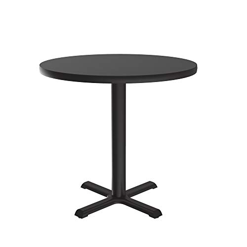 Correll BXT48R-07 Black Granite Top and Black Base Round Bar, Café and Break Room Table, 48'