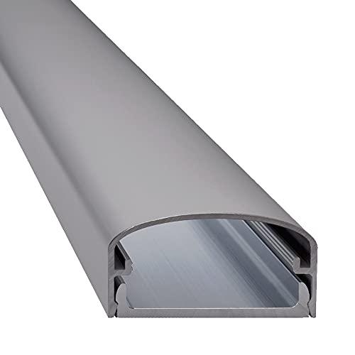 Design Alu Kabelkanal'BIG MOUTH' für TV, Beamer etc. - silber matt eloxiert - Länge 100cm - Platz für viele Kabel - 100 x 5 x 2,6 cm - komplett aus Aluminium
