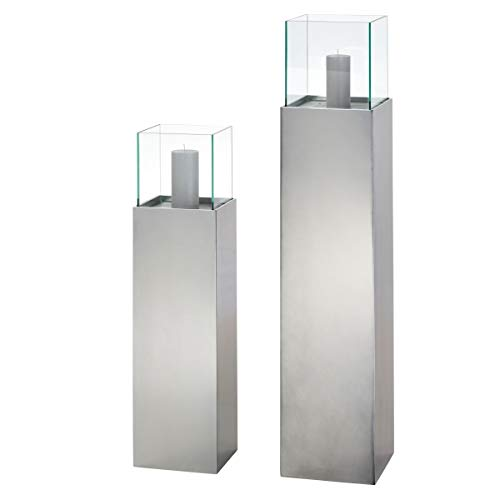Pureday Bodenwindlicht Metallic - Windlichtsäule - Gartendeko - Anthrazit Metallic - groß