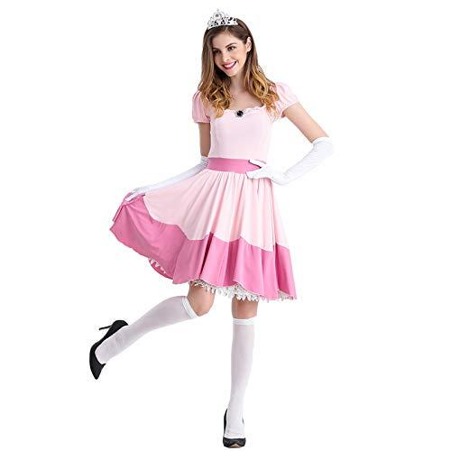 thematys Super Mario Prinzessin Peach Kleid - Kostüm-Set für Damen - perfekt für Fasching, Karneval & Cosplay (Medium) 160cm - 165cm