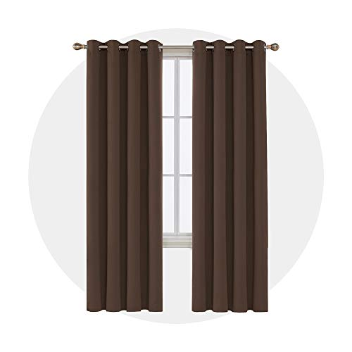 Deconovo verdunklungsgardine Ösenvorhang lärmschutzvorhang 270x140 cm Braun 2er Set