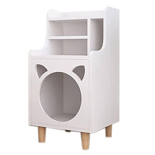 DUTUI Arena para Gatos Mesita De Noche Jaula para Gatos Casa para Gatos Cuatro Estaciones Muebles para Gatos De Madera Maciza Universal Gabinete De Almacenamiento Multifuncional,Blanco