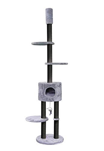 Petrebels Design Plafond Krabpaal voor Meerdere Katten Anna 240 Grijs Hoogteverstelbaar 240-260 cm