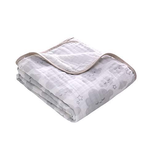 Miracle Baby Musselin Babydecke 150x110cm, Zwei Schichten Baumwolle Kuscheldecke,Einschlagdecke Kinderdecke für Kinderwagen Babyschale, Als Zudecke Tagesdecke Wickeldecke(Wolke)