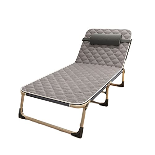sillas de Camping Cama Plegable, sillón reclinable de la Oficina de Almuerzo para una Sola Persona, Cama de Descanso portátil de Marcha de la casa Ajustable sillas Plegables (Color : A)