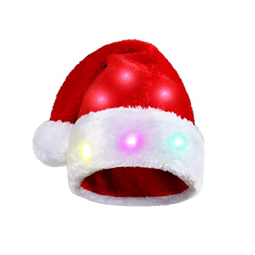 Funny Chrismas Xmas Santa Plush Hat with 20 Blinking Color-Changing Light up LED Lights for Unisex Adults and Kids (2pcs LED Hat)